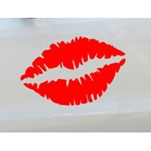 "Kiss Mark Lips Car Decal / Sticker RED 11.8"""