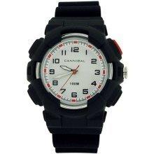 Cannibal Active Boys White Dial EL-Backlight Black Plastic Strap Watch CJ272-01