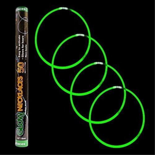 """Fun Central S7 22"""" Premium Glow Stick Necklaces, Glow in the Dark Necklace, Glow Necklaces Bulk, Glow Sticks Bulk, Super Bright Green, 50 ct"""
