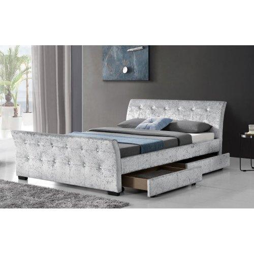 New Crushed Velvet 4 Drawer Sleigh Storage Bed Frame 4ft6 Double 5 ft King size