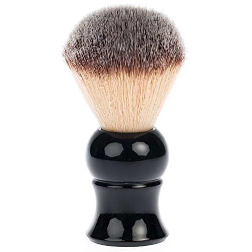 Fendrihan Synthetic Shaving Brush with Black Resin Handle for Personal and Professional Shaving
