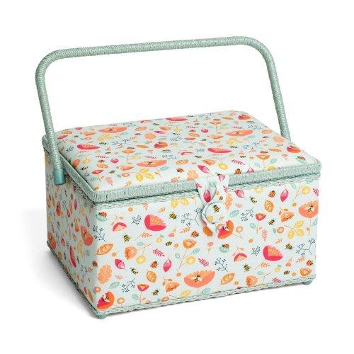 Hobbygift Premium Large Sewing Basket - Bees & Ladybirds - 24cm x 31.5cm x 19.5cm