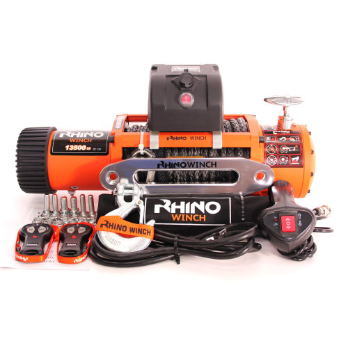 Rhino Electric Winch Wireless Recovery 12v 13500Lb / 6125Kg Synthetic Dyneema Rope - Stronger Than Steel