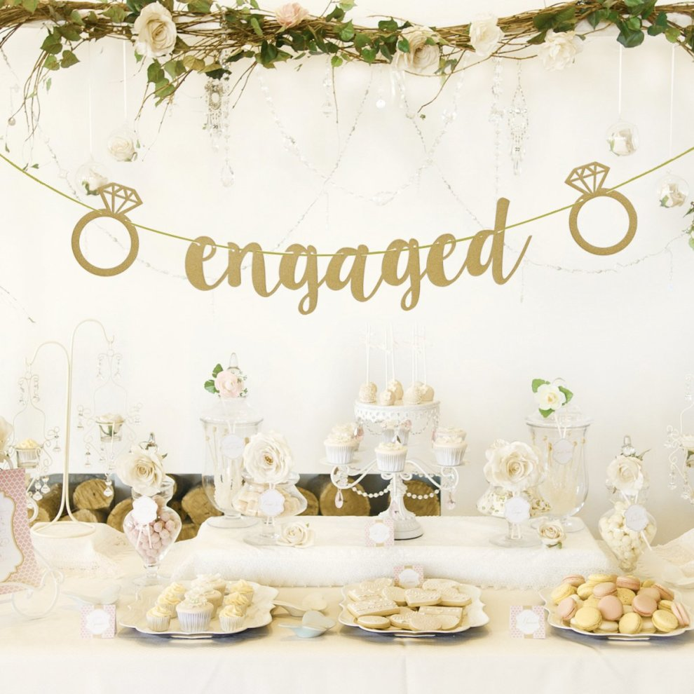 Rosenice Engagement Party Banner Bunting Decorations For Bridal
