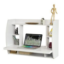 SoBuy® FWT18-W, Home Office Desk Workstation Wall-mounted Table Desk with Storage Shelves