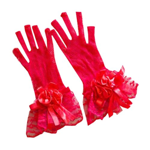 Women's Evening Party Lace Finger Gloves(Short) Gloves For Wedding Prom Party,A3