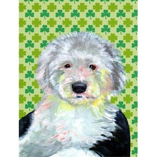 Old English Sheepdog St. Patricks Day Shamrock Portrait Flag - Garden Size, 11 x 15 in.