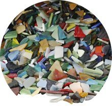 Glass Mosaic Pieces 200g Loose Mixed Sizes Shapes Colours Smooth Edges