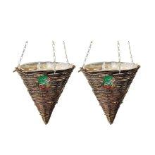 2 X Kingfisher 12 Inch (30Cm) Dark Rattan Cone Hanging Basket