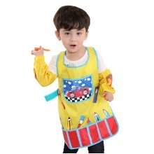 Waterproof Baby Bib Overclothes Painting Smock Apron & Sleeves Car, 3-10 Years