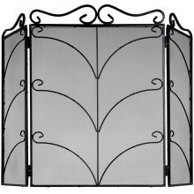 Fire Screen Black Ornate