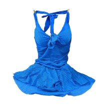 Women's Size Breasts Gather Conjoined Swimming Apparel, Sapphire, Medium