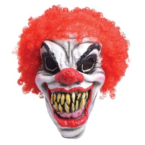 Scary Clown Mask, Red Hair, Foam Latex