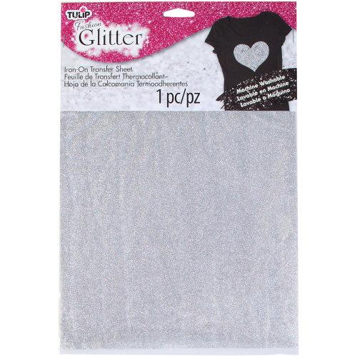 "Tulip Iron On Glitter Transfer Sheet 8.5""X11"" 1/Pkg-Silver"