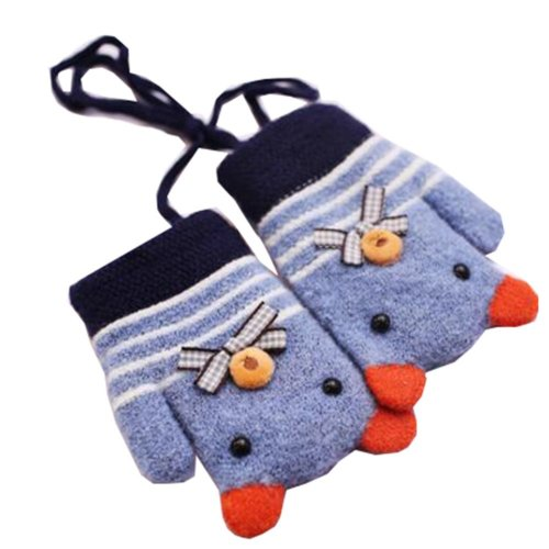Fashion Mixed Color Children Winter Knit  Blue Mittens