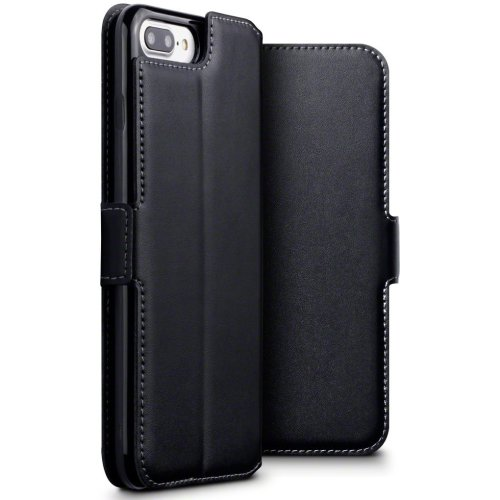 pretty nice a4a6c e4bf5 TERRAPIN iPhone 8 Plus Case iPhone 8 Plus/iPhone 7 Plus GENUINE LEATHER Low  Profile Wallet Case - Slim Fit - Viewing Stand - Card Slots - Black