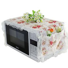 Elegant Flowers Design Microwave Oven Protective Cover Dust-proof Cover, A