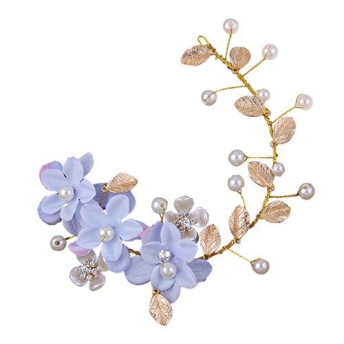 Blue Flower Pattern Hand Made Wedding Head Beauty Supplier, 28x7 cm