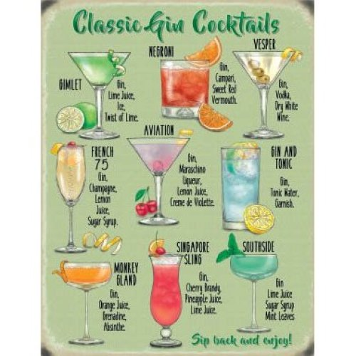 New 15x20cm Classic Gin Cocktail recipe metal advertising wall sign