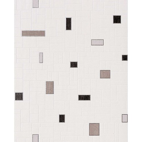 EDEM 584-20 vinyl wallpaper mosaic tile decor white silver-grey black | 5.33 sqm