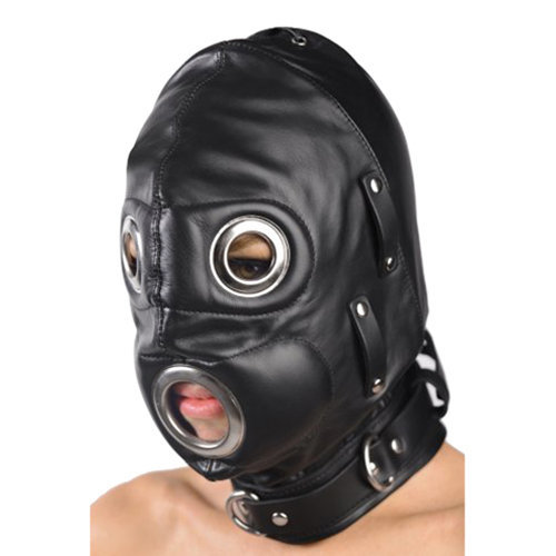 Total Lockdown Leather Hood - Small/Medium S/M BDSM Masks - Strict Leather