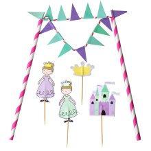 TRIXES Princess Cake Banner Topper Flag Decoration