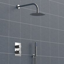 Concealed 2 Dial Thermostatic Shower, Wall Mounted Round Head & Handheld