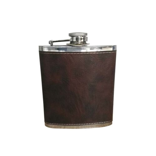 [LETHER] Creative Hiking/Camping Stainless Steel Hip Flask, 7oz