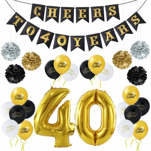 40th Birthday Decoration Unomor Balloons Paper Flowers Banner Set Including 40 Gold Foil