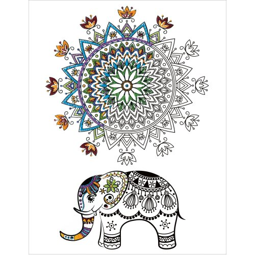 "Design Works/Zenbroidery Stamped Emboidery Kit 14""X18""-Elephant Mandalas"