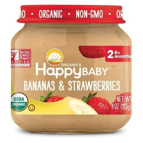 Happy Baby 318860 Stage 2 Banana Strwberry Clearly Crafted Baby Food in Jar, 4 oz - Pack of 12
