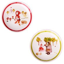 Set Of 2 Ceramic Red Riding Hood Round  Dishes  Chicken Dishes,Red&Green