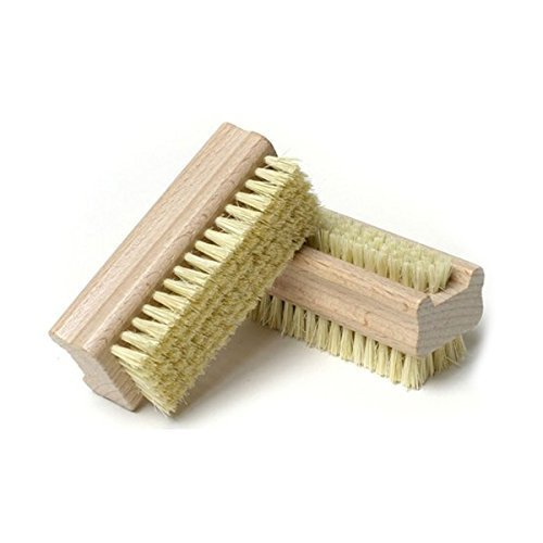 ROSENICE Wooden Handle Double Sided Natural Bristle Nail Brush