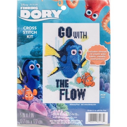 "Dimensions/Finding Dory Counted Cross Stitch Kit 5""X7""-Go With The Flow (14 Count)"