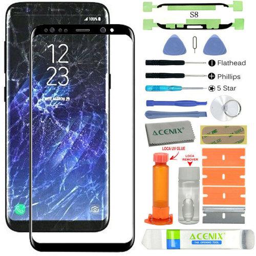 Samsung Galaxy S8 Replacement Screen Front Glass lens Repair Kit Black + UV Glue