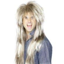 Smiffy's 80's Mega Mullet Blonde Wig - Brown -  wig 80s blonde mullet brown mega smiffys fancy dress