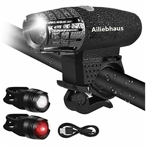 Ailiebhaus Bike LED Lights Set, Water Resistent Bicycle Front and Rear Light Rechargeable 4 Modes Energy Saving Safety (1 x Head Light, 2 x Tail...