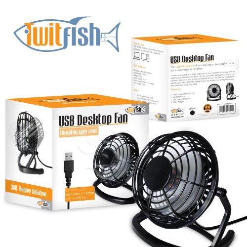 Twitfish USB Retro Fan - Black
