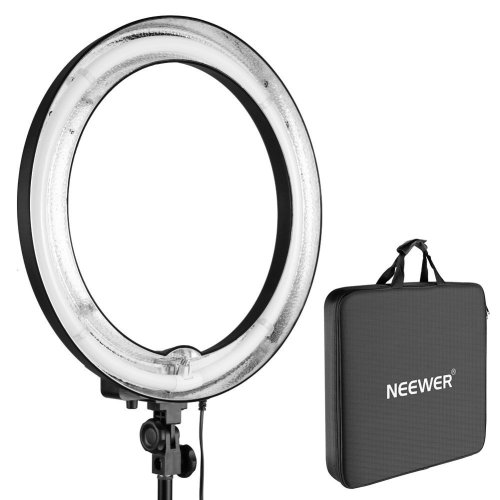 Neewer 75W (600W Equivalent ) 5500K Camera Photo  Ring Fluorescent Flash Light, Diameter 18 inches  Outer 14 inches Inner, with Carrying Case for...