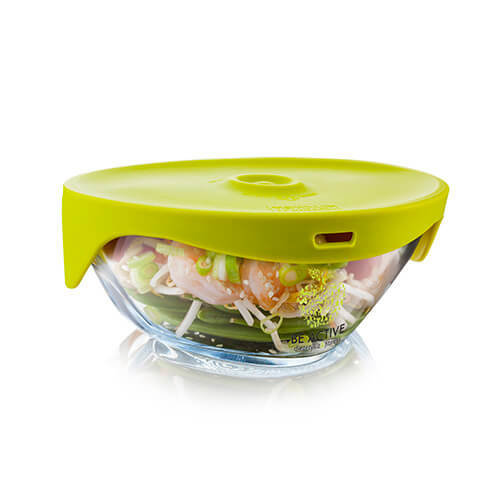 Tomorrows Kitchen Single Serve Steamer with Green Lid, Clear