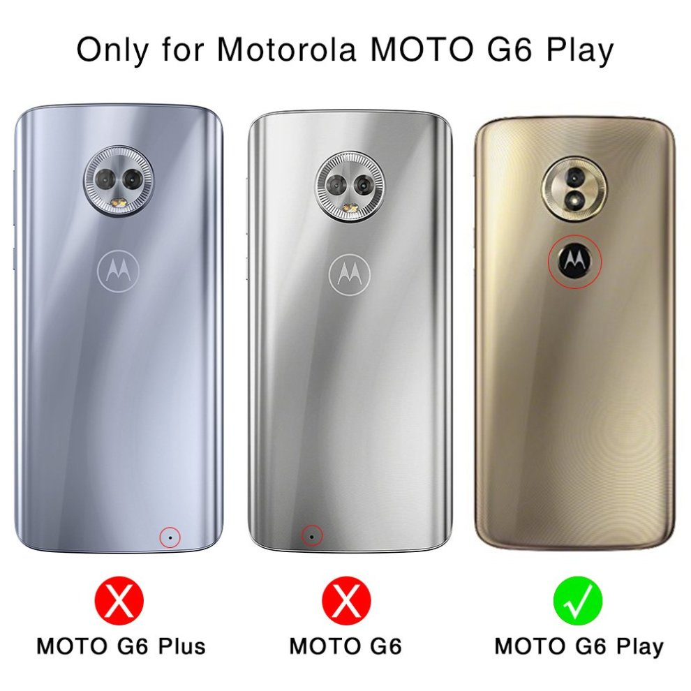 MOTO G6 Play Wallet Case, ICARERCASE Vegan Leather Folio Flip Cover with  Kickstand and Credit Card Slots for MOTO G6 Play (2018) 5 7 Inch (Rose Gold)