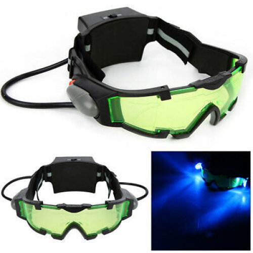 Green Lens Adjustable Elastic Band Night Vision Goggles Glasses eyeshield