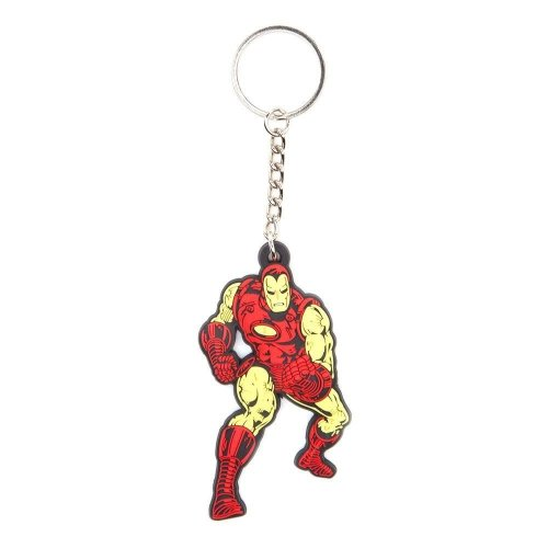 Marvel Comics Iron Man Fighting Pose Rubber Keychain - Red/Gold