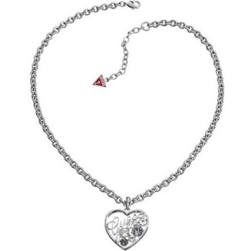 GUESS Silver-Tone Heart Necklace UBN11207