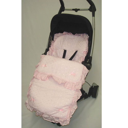Broderie Anglaise Footmuff / Cosy Toes/ Cost Toes Gypsy/ Romany Pushchairs - Pink