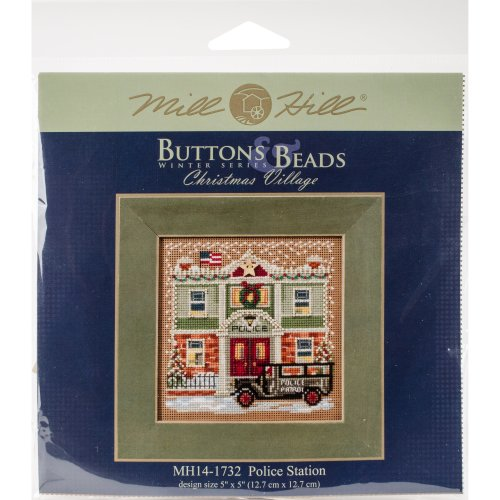 """Police Station Buttons & Beads Counted Cross Stitch Kit-5""""X5"""" 14 Count"""