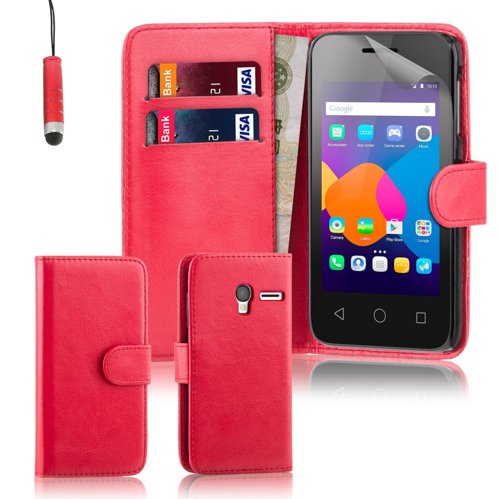 32nd Book Wallet PU Leather Flip Case Cover For Alcatel Pixi 4 (4 0),  Design With Card Slot and Magnetic Closure - Red