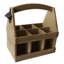 Oak Effect Six Bottle Wooden Carrier