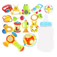 Teeth Biting Educational Toys Teether Hand Bell Toys Newborn Gift Set for Babies,12 Pcs+Hammer