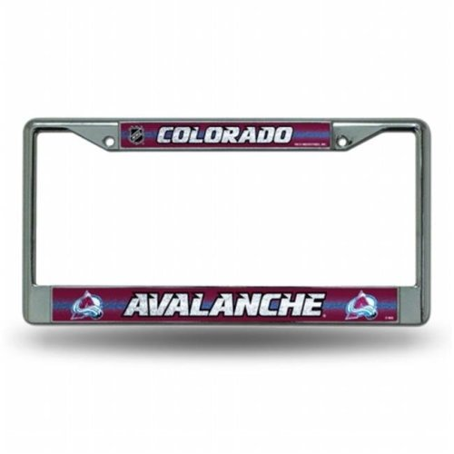 Rico Industries RIC-FCGL6901 Colorado Avalanche NHL Bling Glitter Chrome License Plate Frame